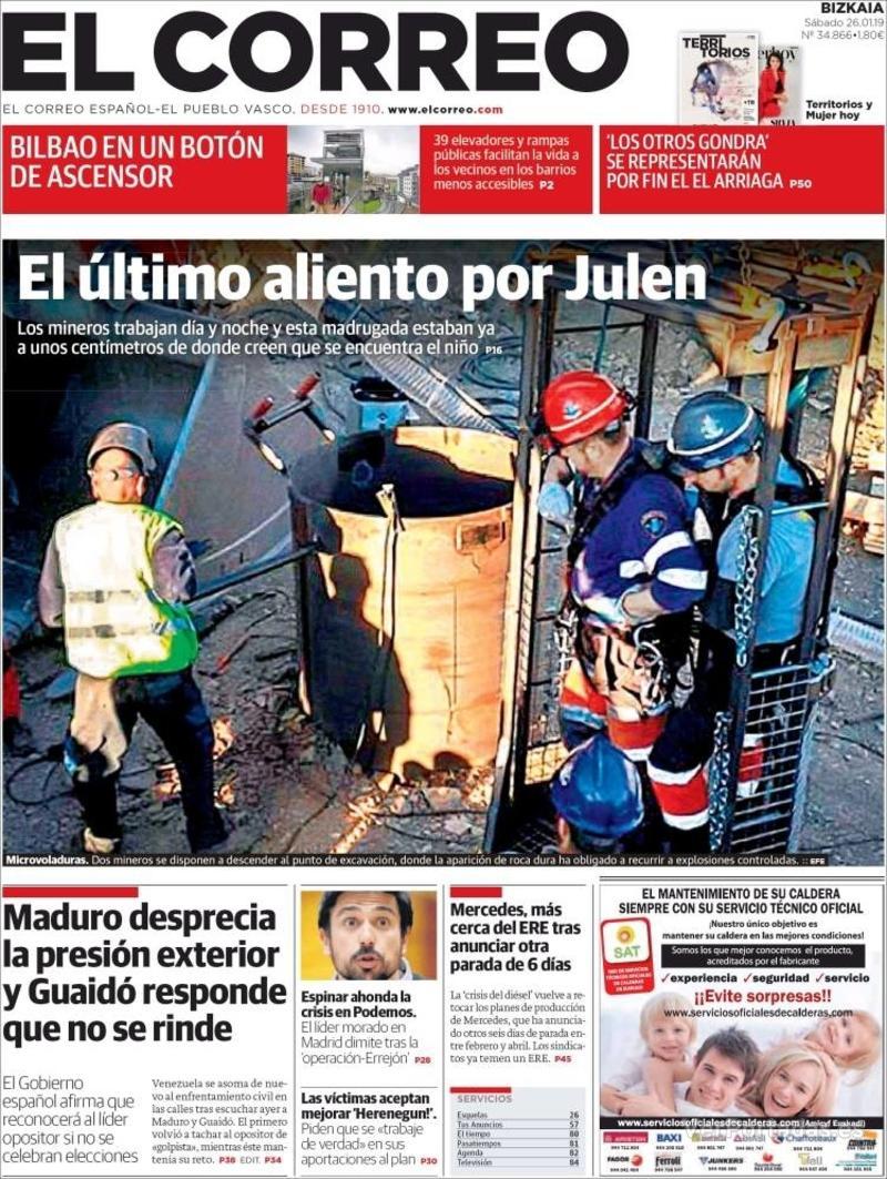 Portada El Correo 2019-01-27