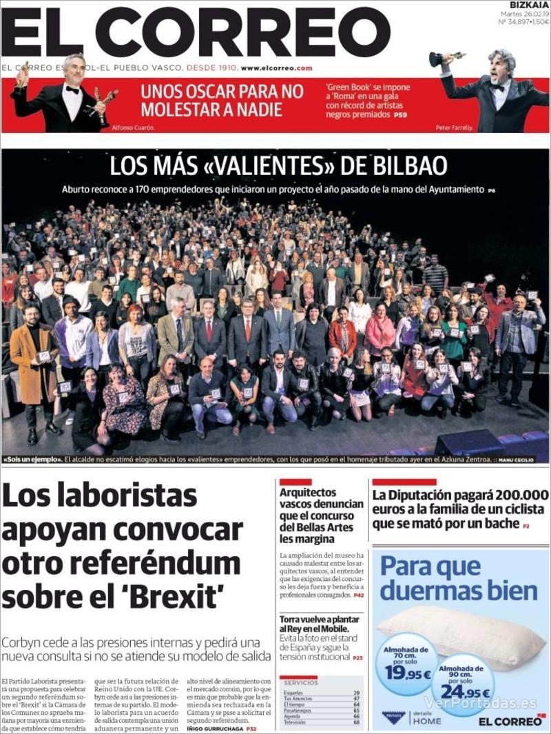 Portada El Correo 2019-02-27