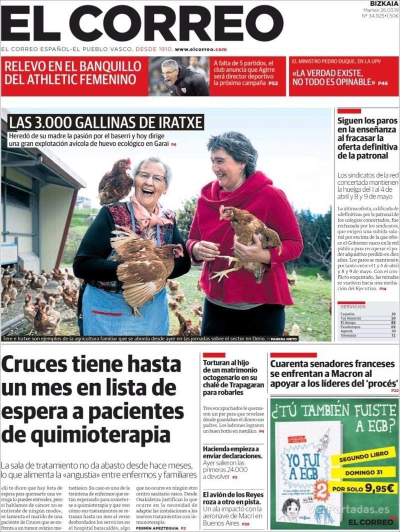Portada El Correo 2019-03-27