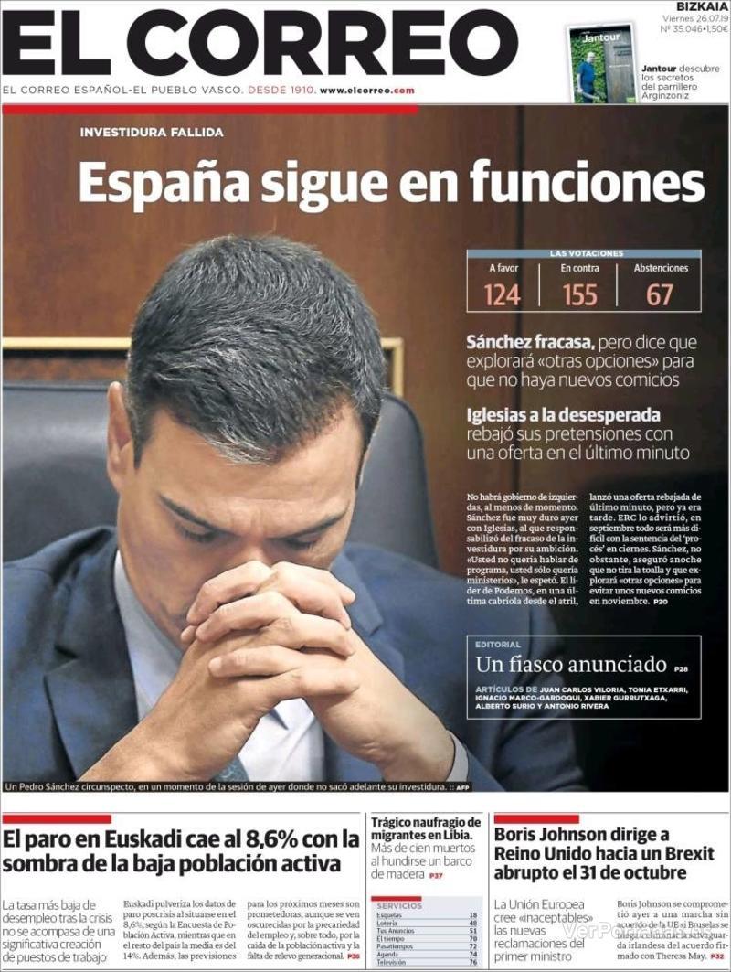 Portada El Correo 2019-07-27