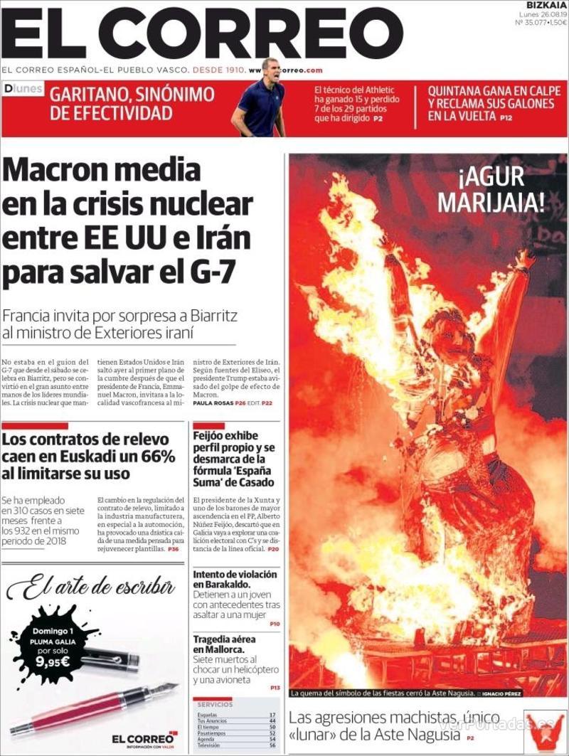 Portada El Correo 2019-08-27