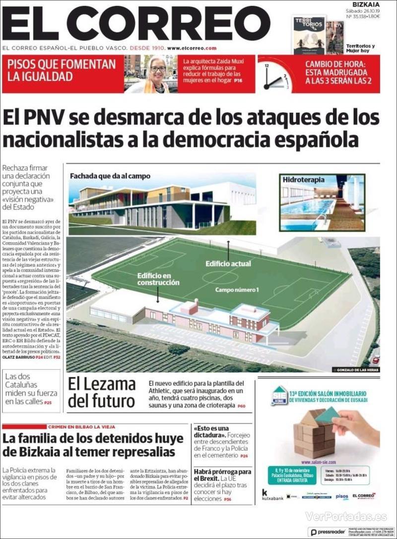 Portada El Correo 2019-10-27