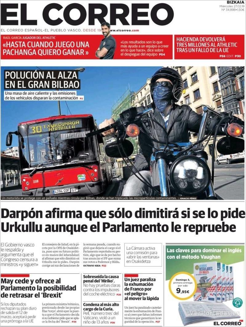 Portada El Correo 2019-02-28