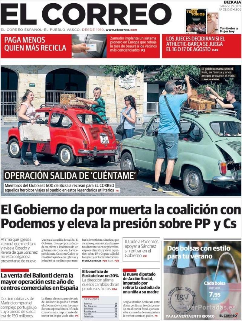 Portada El Correo 2019-07-28