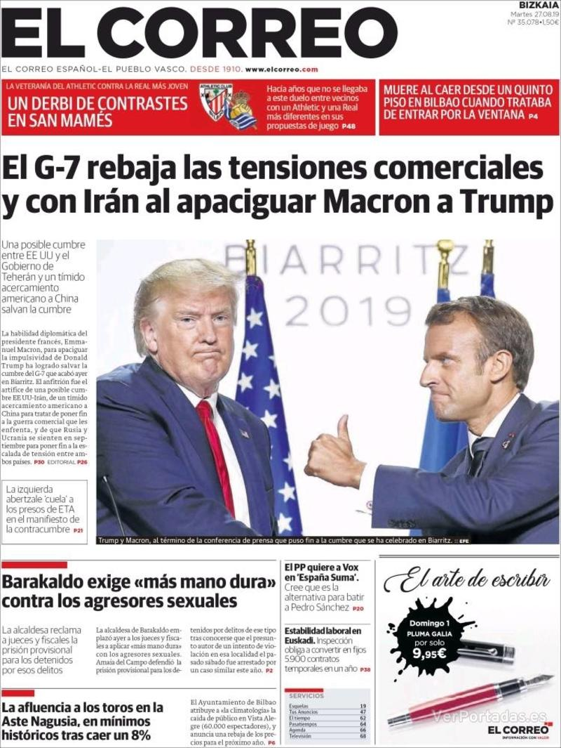 Portada El Correo 2019-08-28