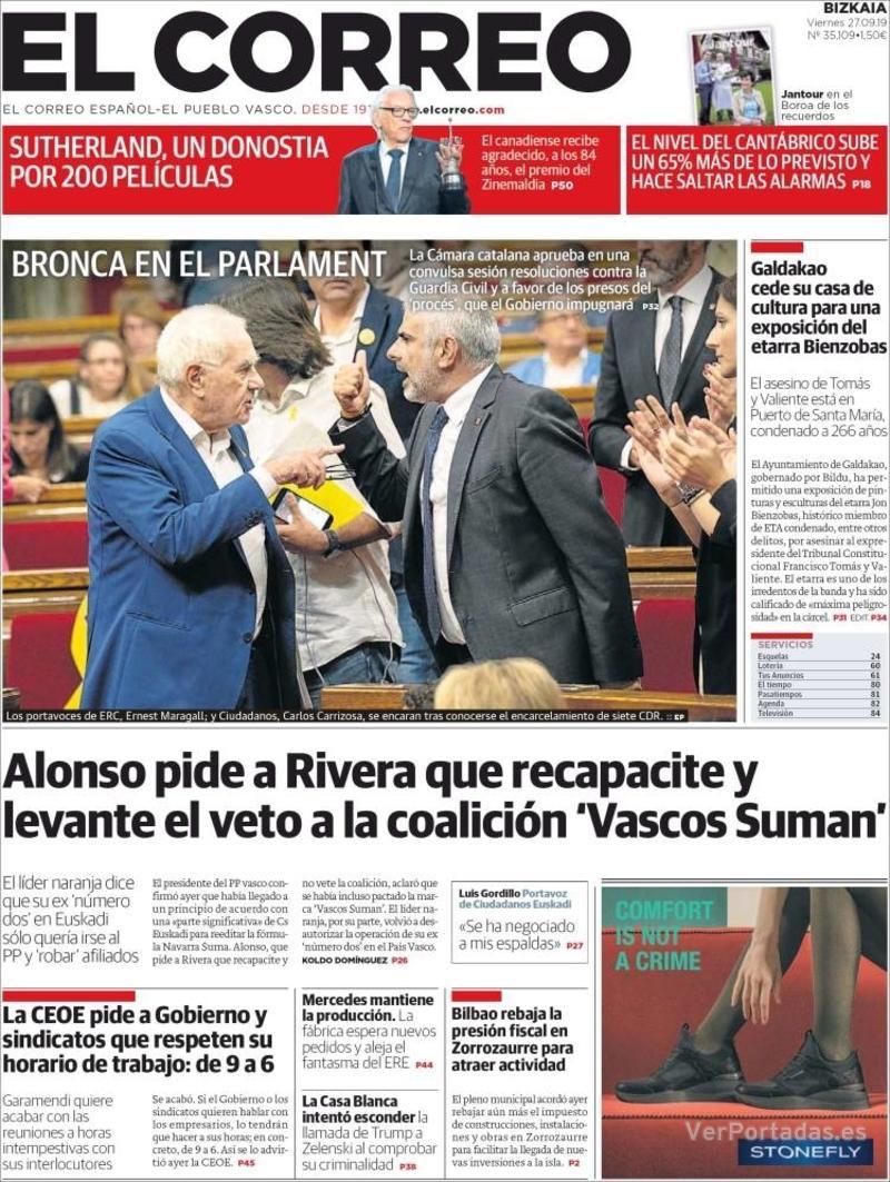 Portada El Correo 2019-09-28