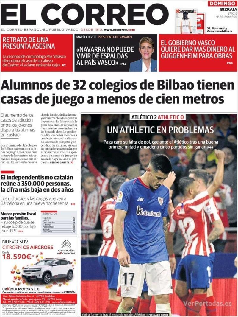 Portada El Correo 2019-10-28