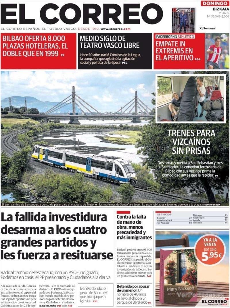 Portada El Correo 2019-07-29