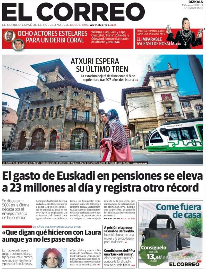 Portada El Correo 2019-08-29