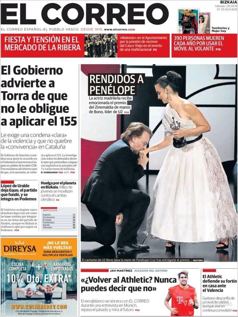 Portada El Correo 2019-09-29