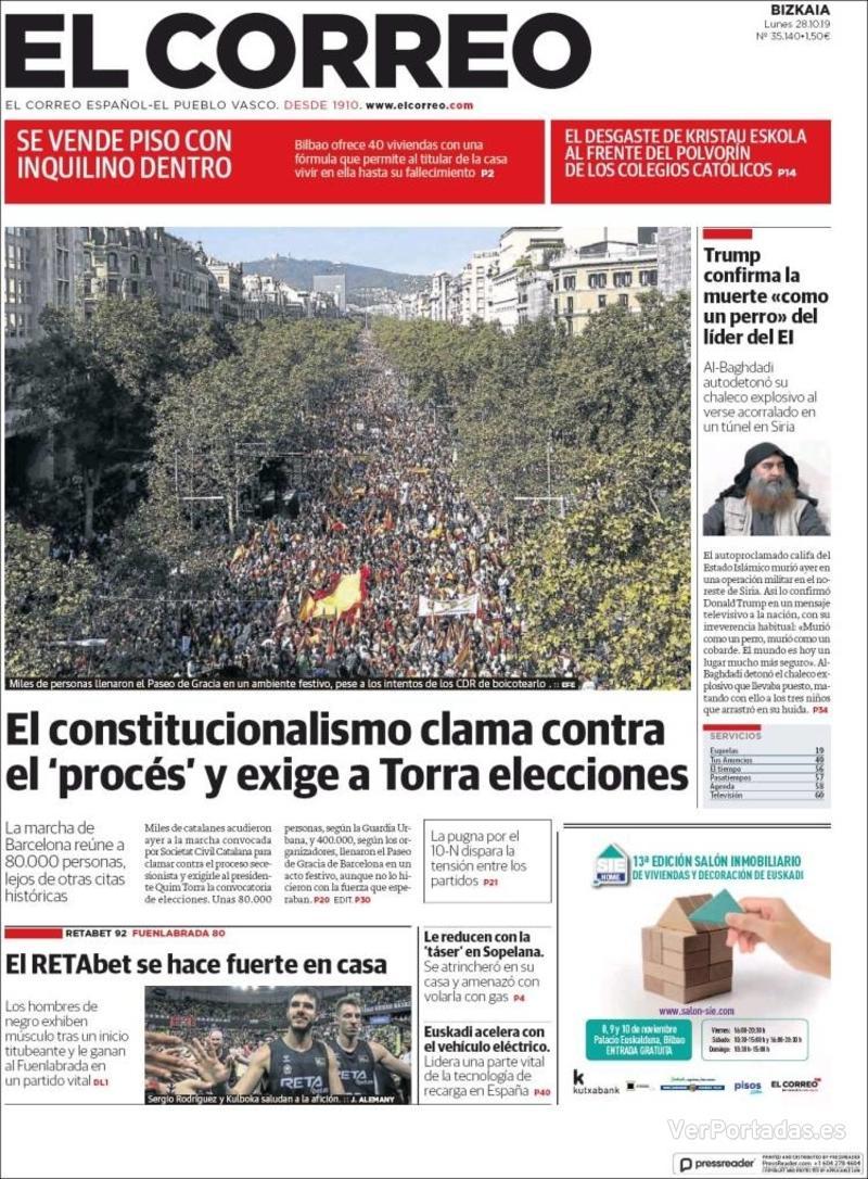 Portada El Correo 2019-10-29