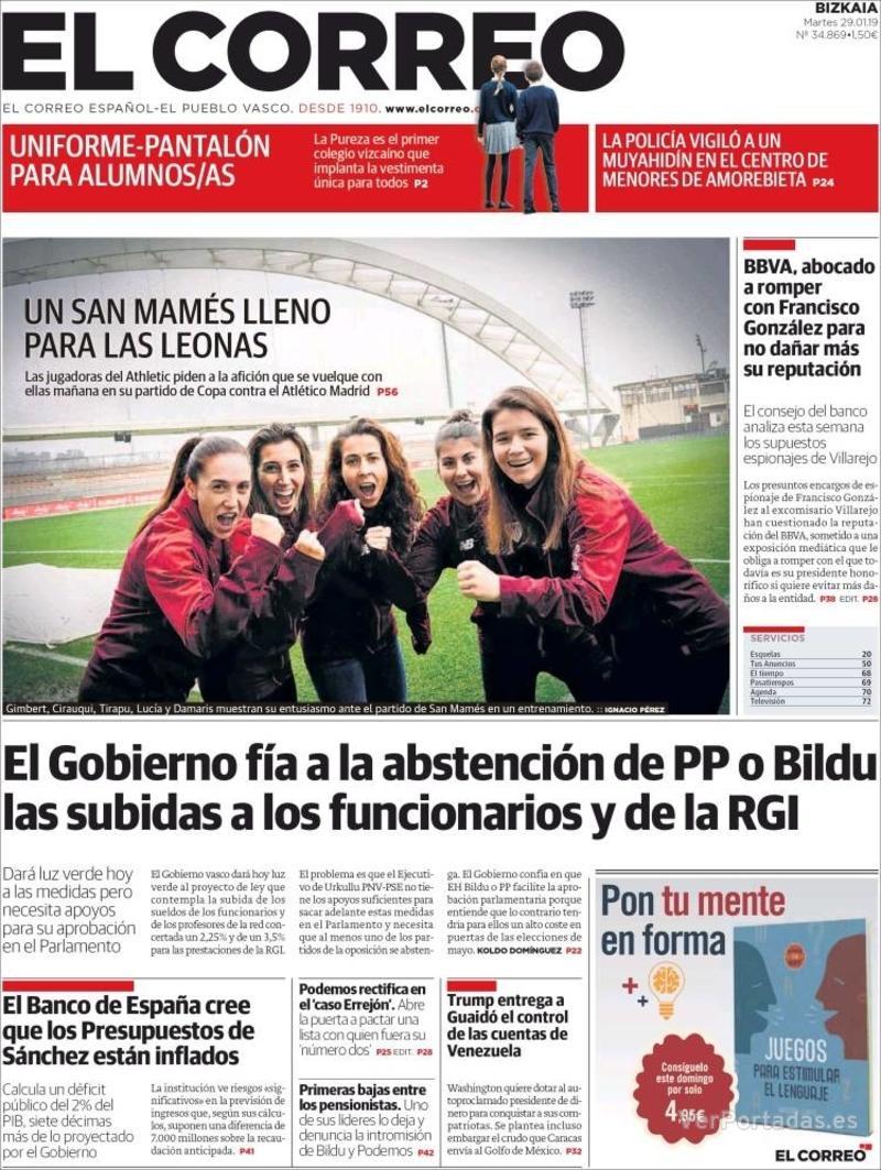 Portada El Correo 2019-01-30