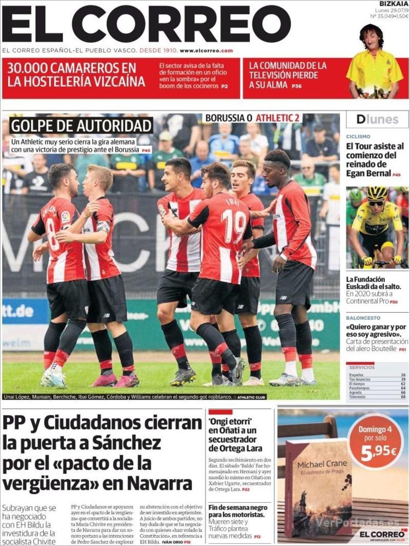 Portada El Correo 2019-07-30