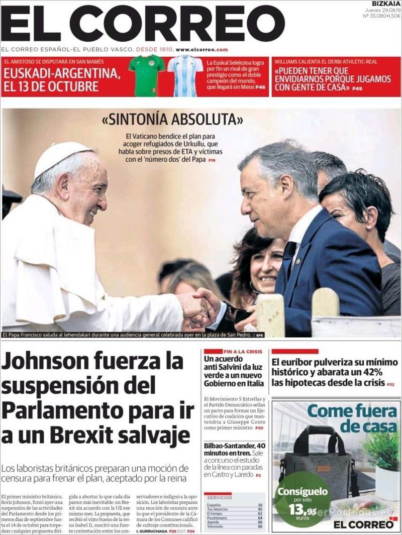 Portada El Correo 2019-08-30