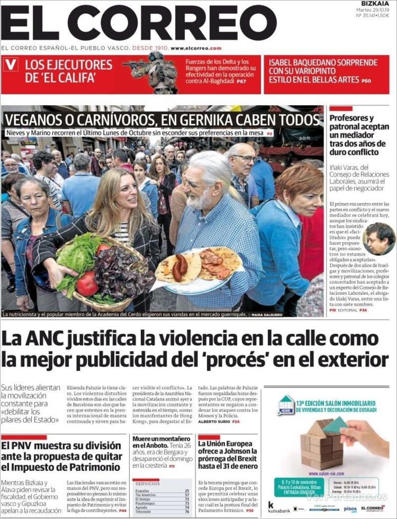 Portada El Correo 2019-10-30