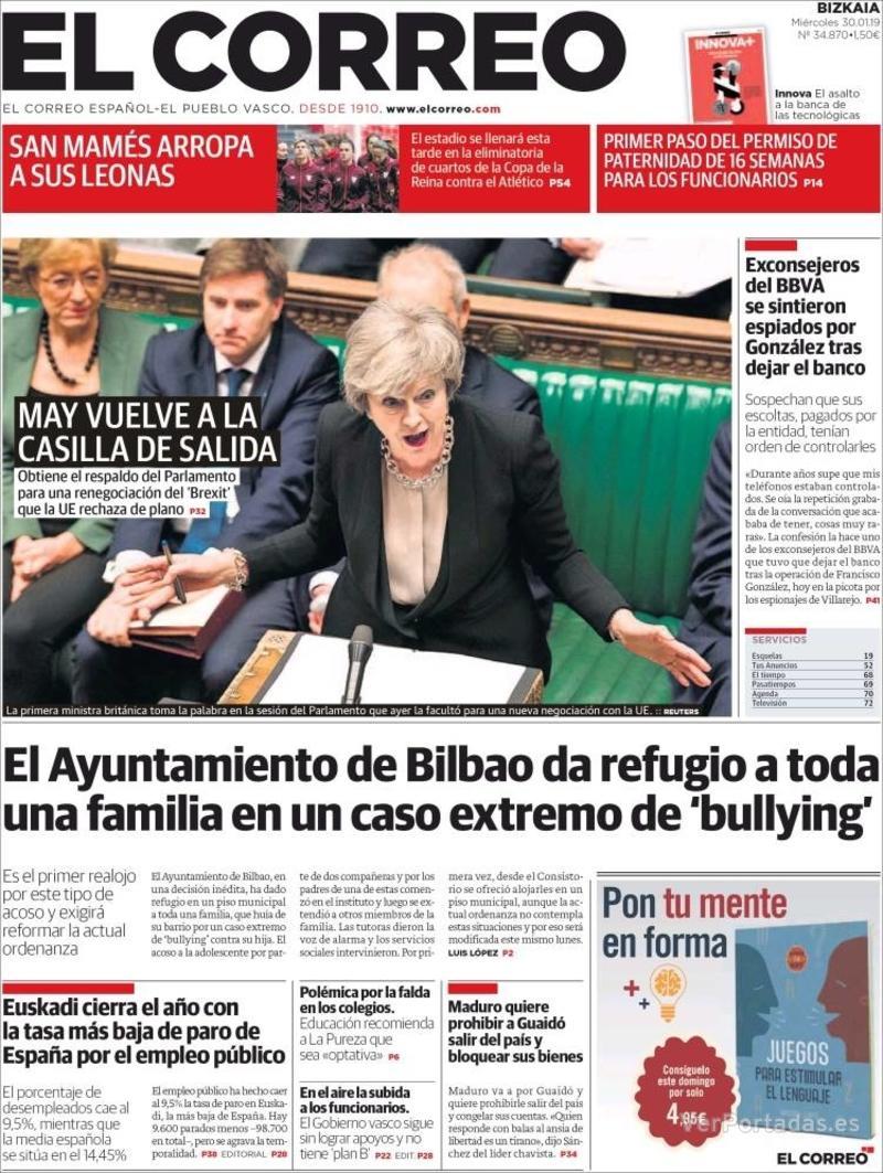 Portada El Correo 2019-01-31