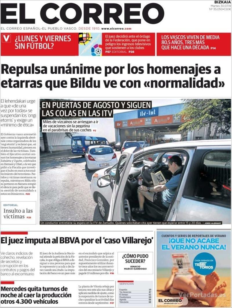 Portada El Correo 2019-07-31