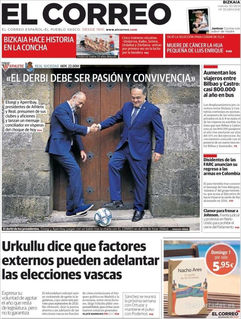 Portada El Correo 2019-08-31