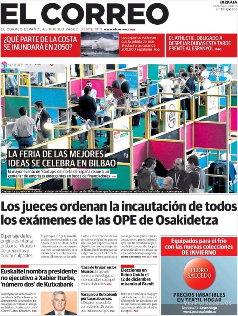 Portada El Correo 2019-10-31