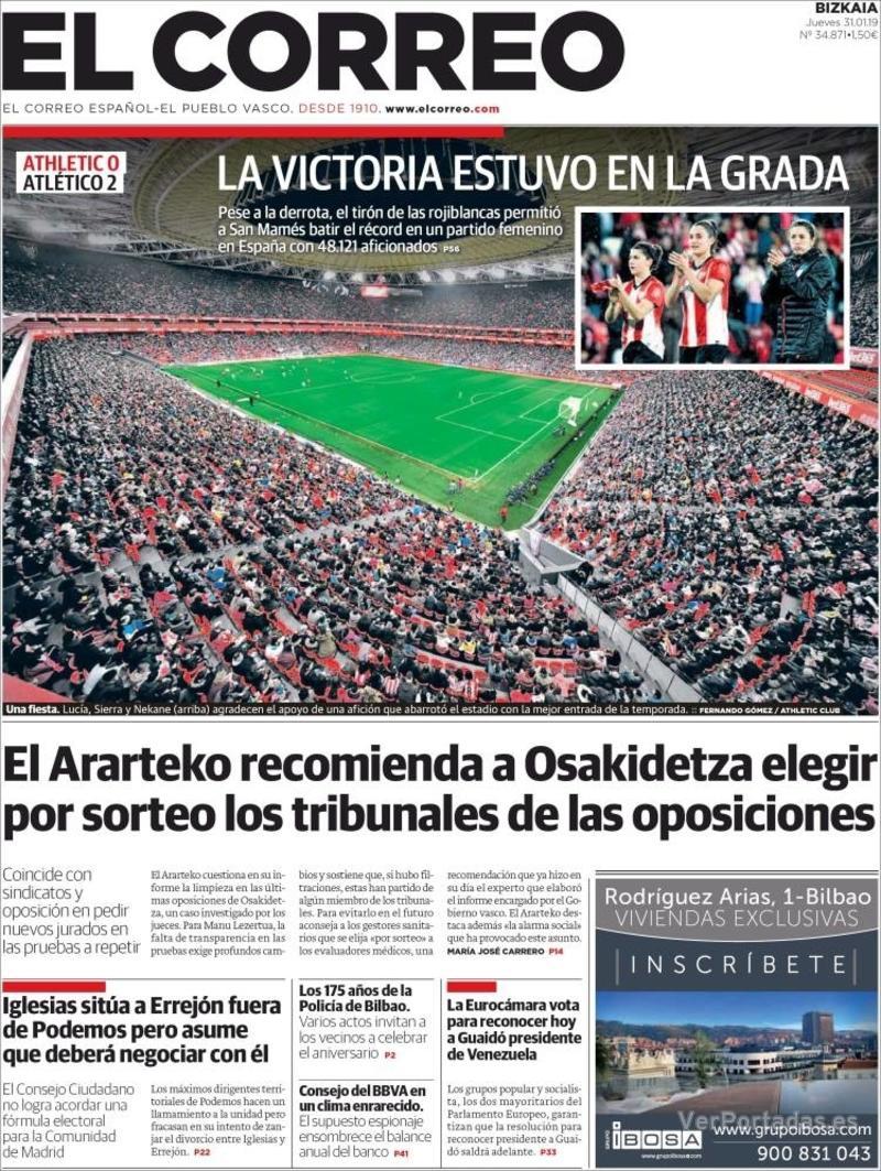 Portada El Correo 2019-02-01
