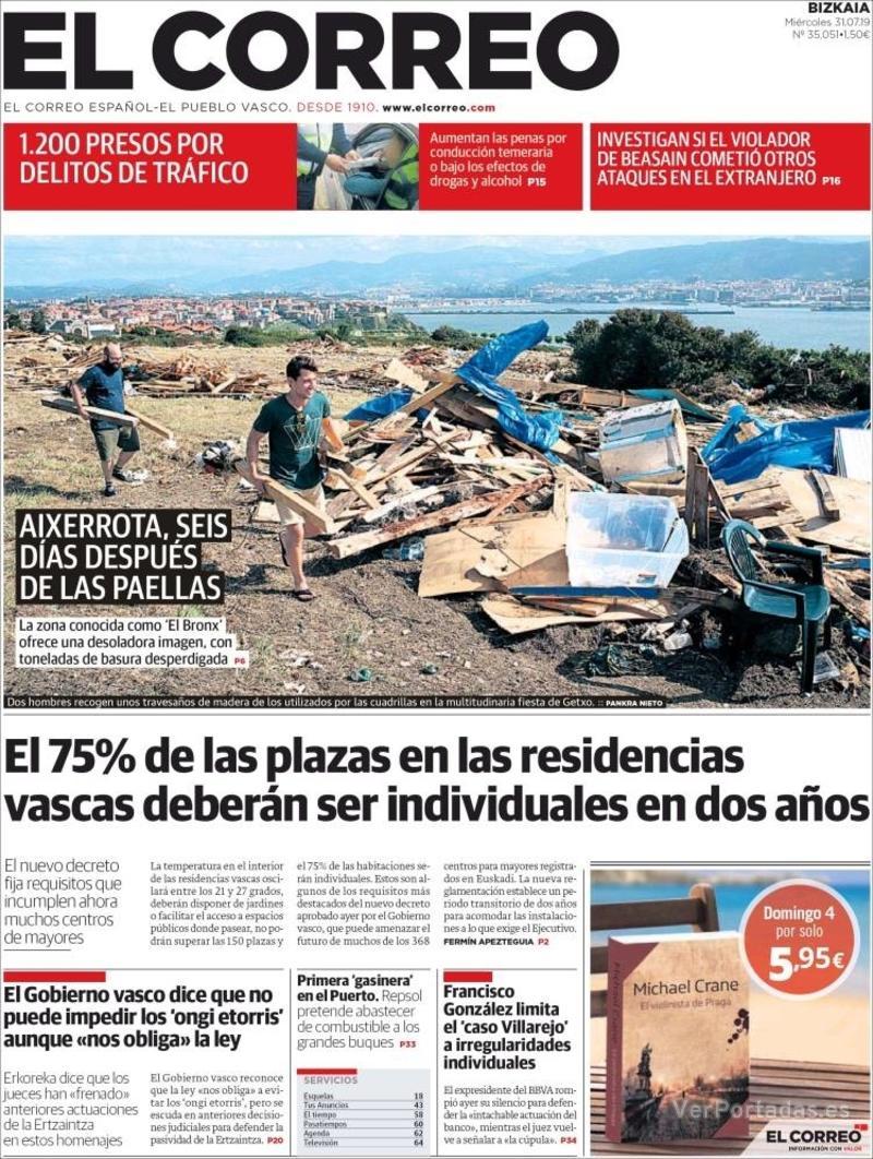 Portada El Correo 2019-08-01