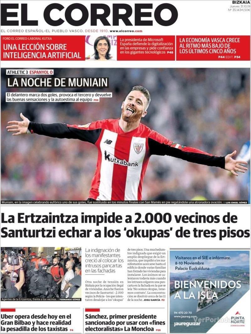 Portada El Correo 2019-11-01