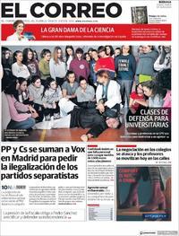 Portada El Correo 2019-11-08
