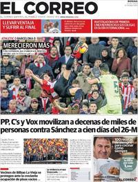 Portada El Correo 2019-02-11