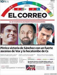 Portada El Correo 2019-11-11