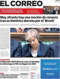 Portada El Correo 2019-01-16
