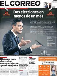 Portada El Correo 2019-02-16