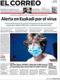 Portada El Correo 2020-08-07