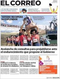 Portada El Correo 2020-09-21