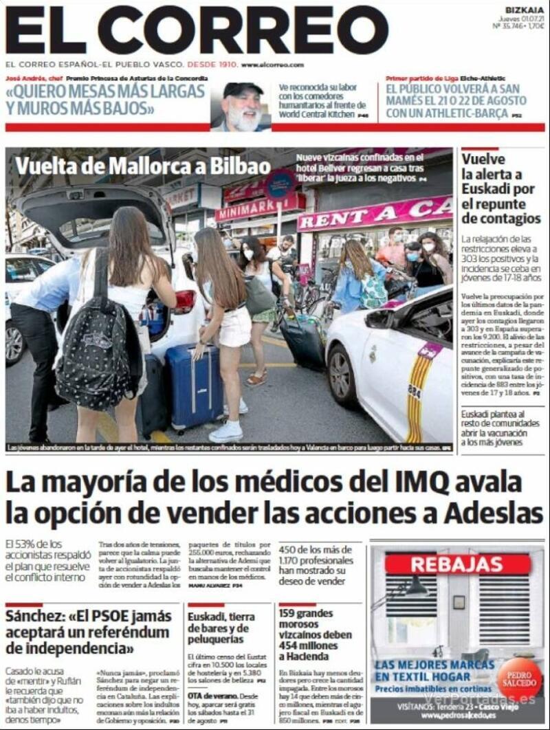 Portada El Correo 2021-07-02