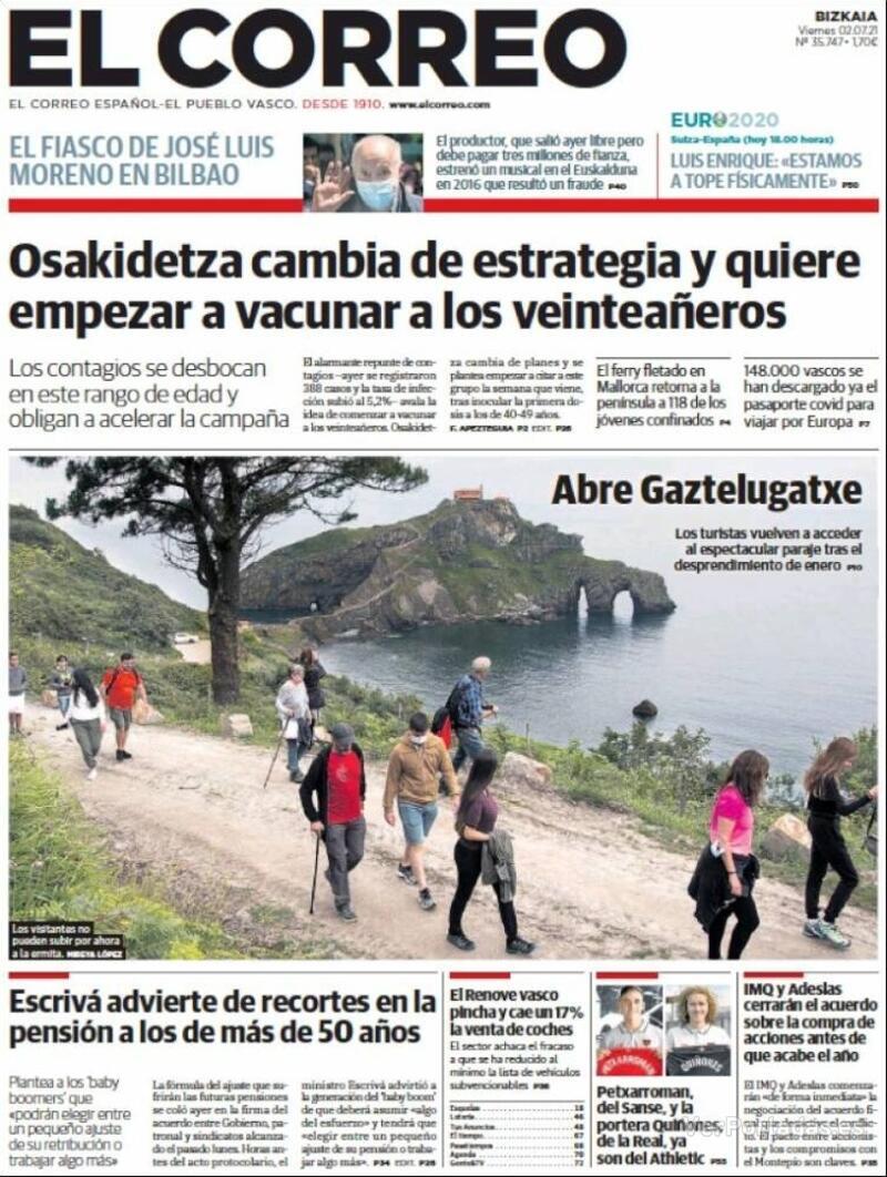 Portada El Correo 2021-07-03