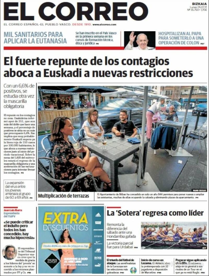 Portada El Correo 2021-07-06