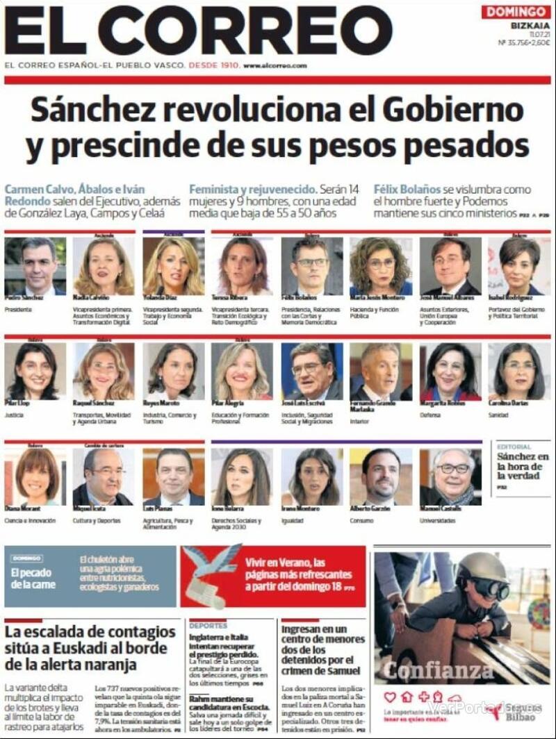 Portada El Correo 2021-07-12