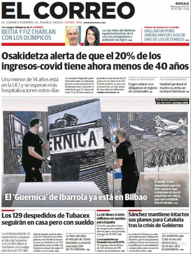 Portada El Correo 2021-07-15
