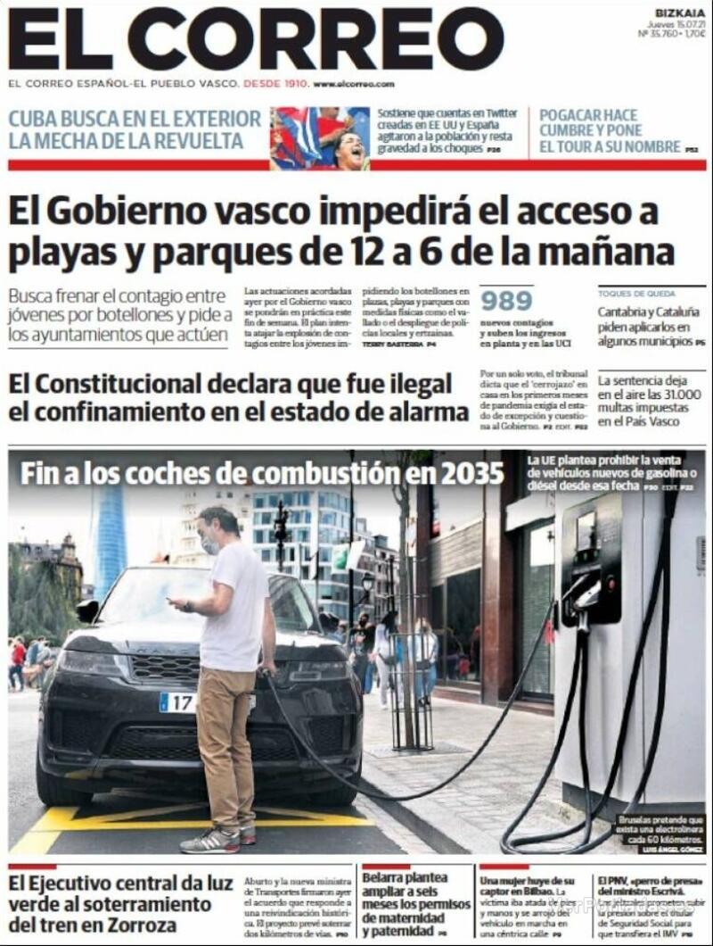 Portada El Correo 2021-07-16