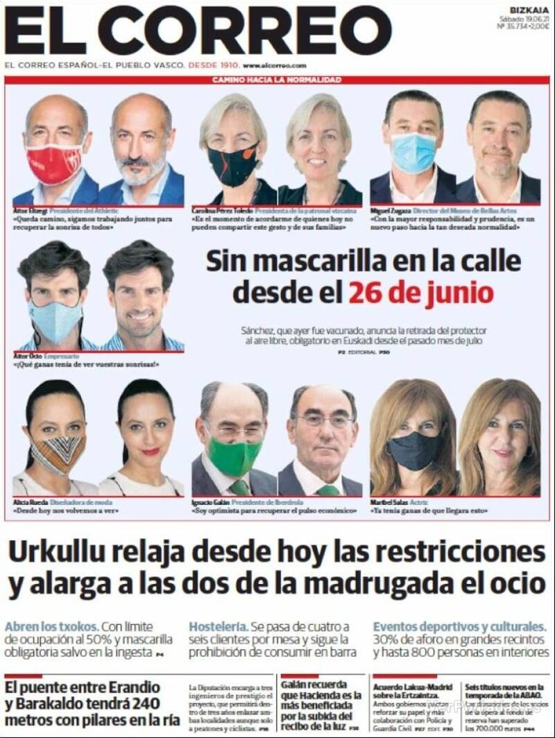 Portada El Correo 2021-06-20
