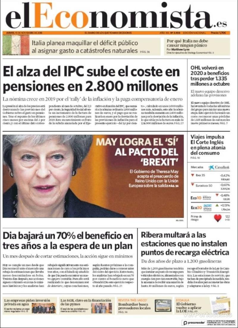 Portada El Economista 2018-11-15
