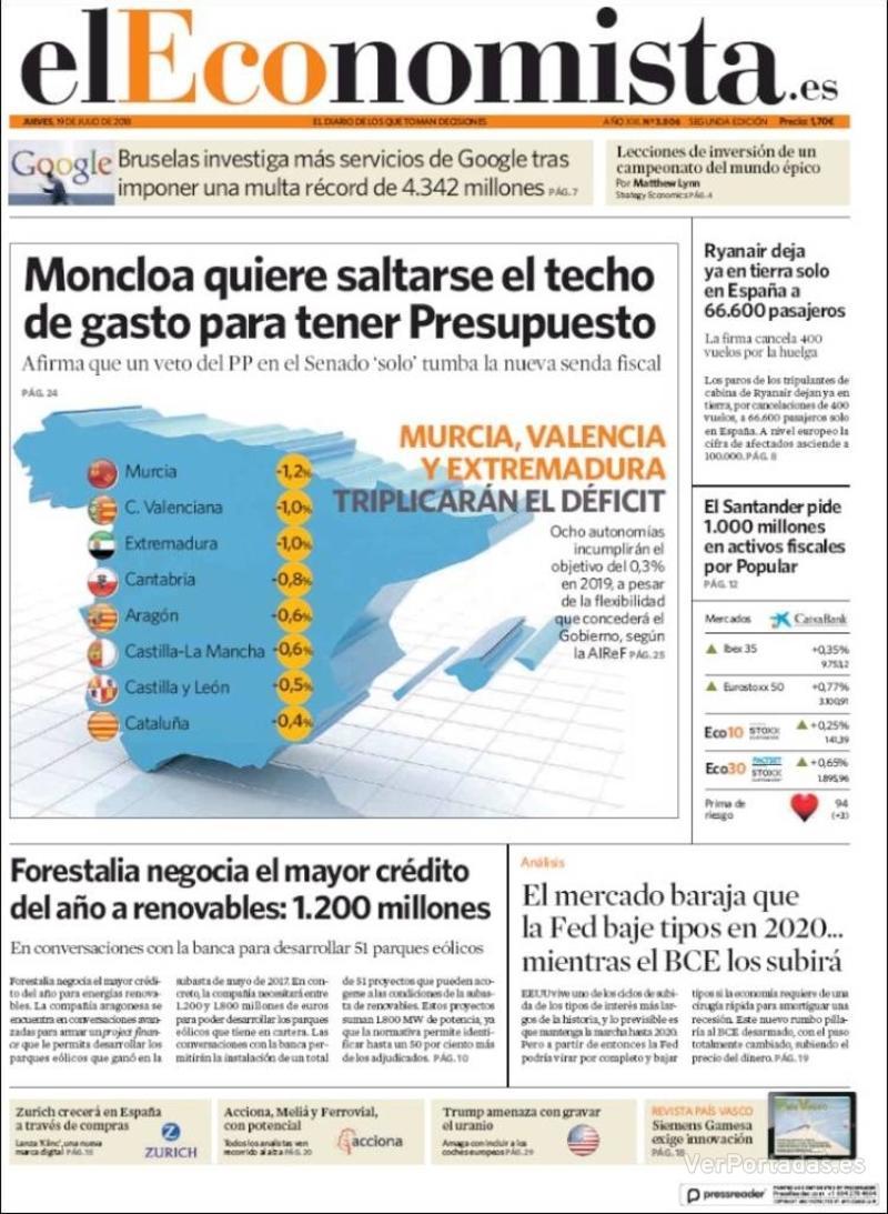 Portada El Economista 2018-07-19