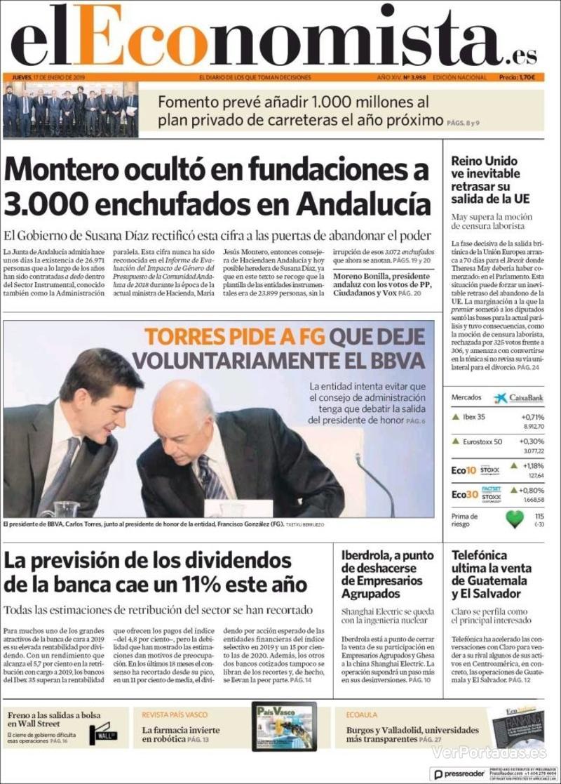 Portada El Economista 2019-01-17