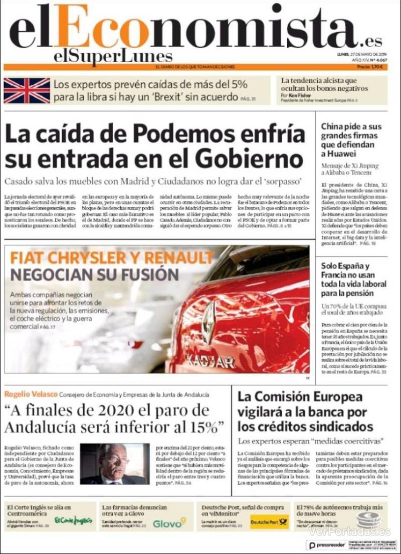 Portada El Economista 2019-05-27