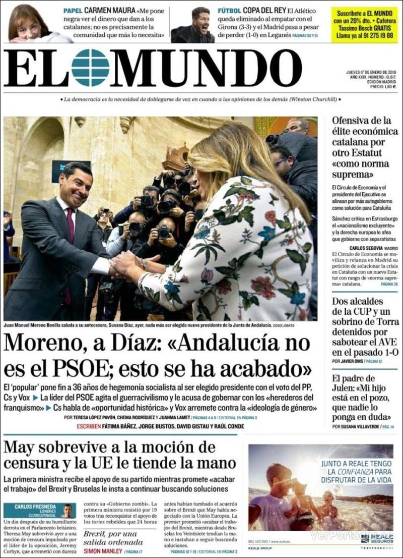 Portada El Mundo 2019-01-17
