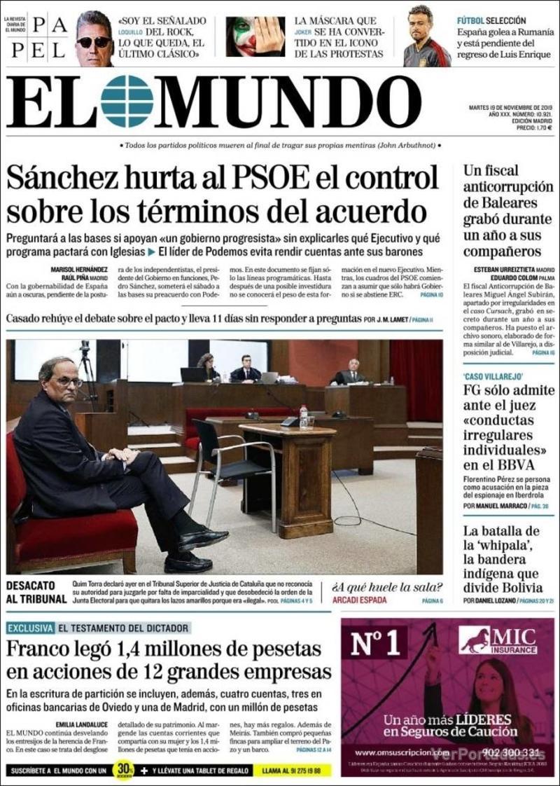 Portada La Razón 2019-11-19
