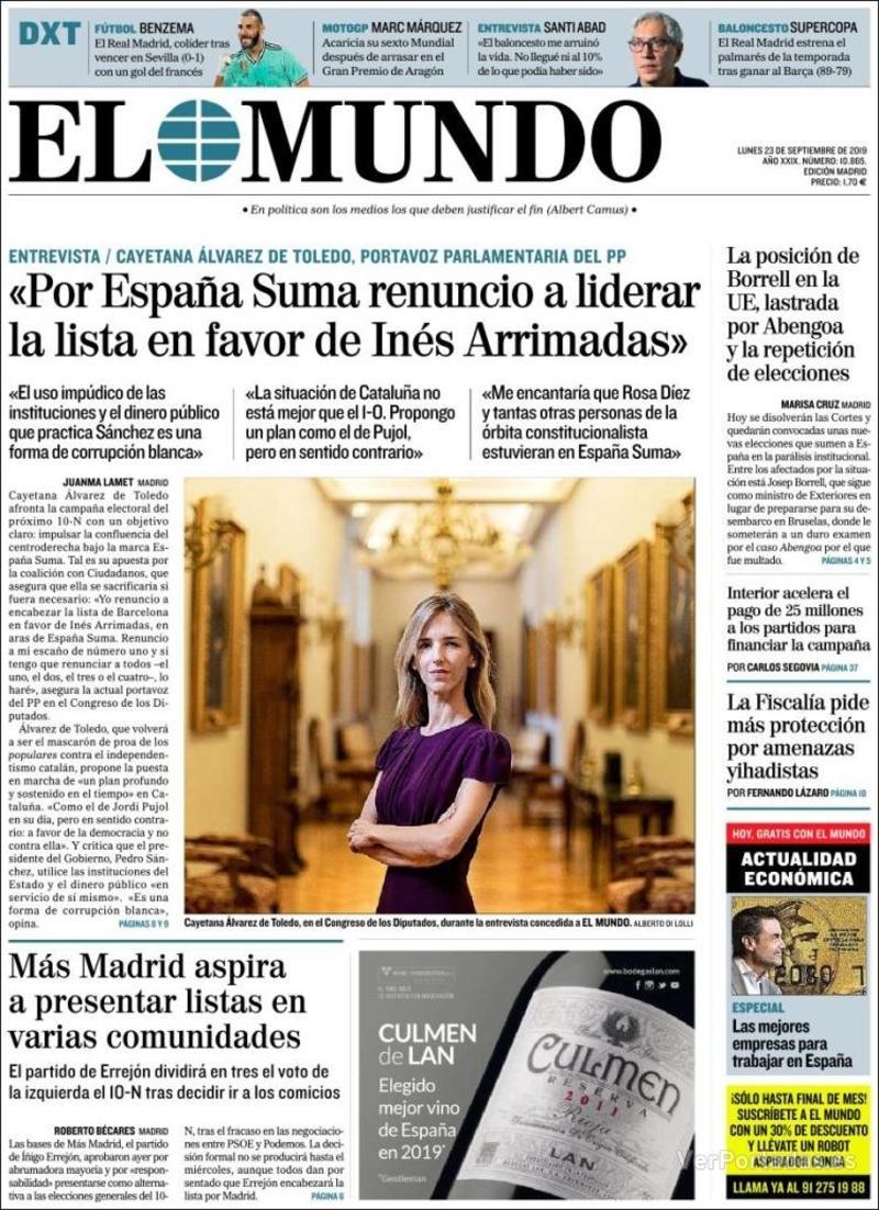 Portada La Razón 2019-09-23