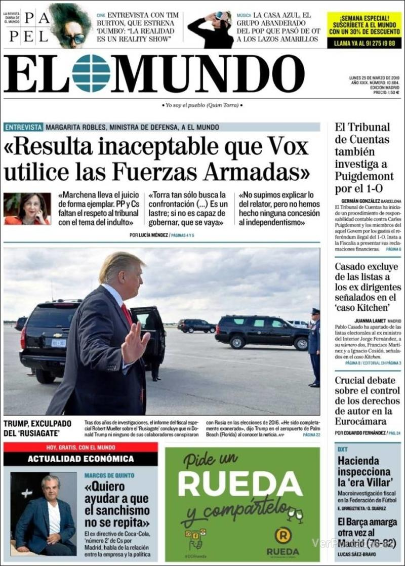Portada El Mundo 2019-03-25