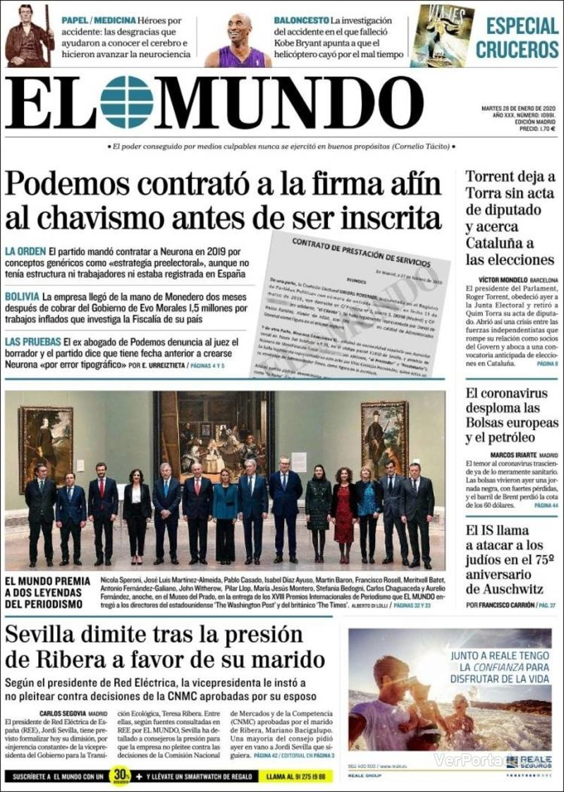 Portada La Razón 2020-01-28