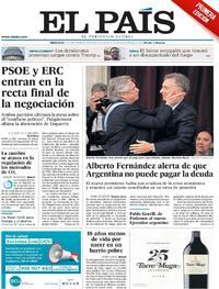 Portada El País 2019-12-11